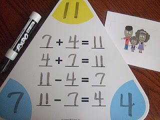 Teaching your child the inverse operation, couldn't get any easier than by using a triangle mat.  Choose three numbers and help your child to find all the operations to make them correct.