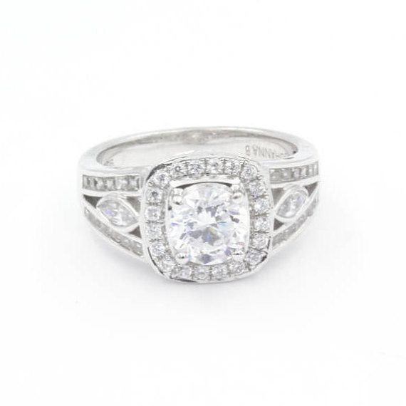 1.0 ct Round Cut CZ Engagement Ring, Size 6.5, 925 Sterling Silver, Halo and Marquise Accent Stones (769)