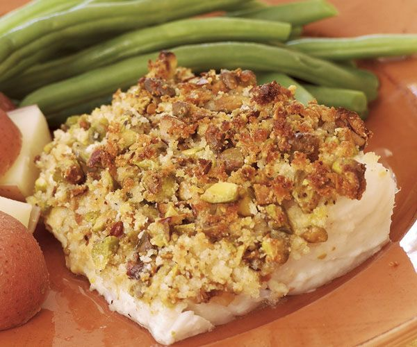 Pistachio-Crusted Cod Fillets Recipe - I suspect cod is not the only fish that could benefit from a nummy pistachio crust.