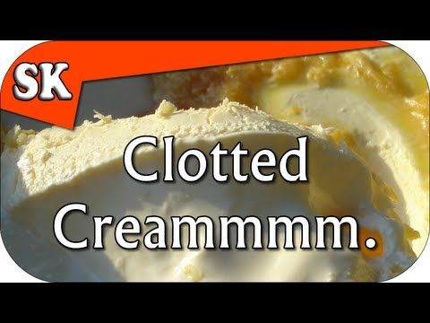Video on how to make clotted cream - looks easy:  Clotted cream. Put quart of heavy cream into the oven at 180 degrees for 8-12 hours. Let cool to room temp, then regrigerate for 8 hours. Scrape the yellow clotted cream off the top and serve with scones.