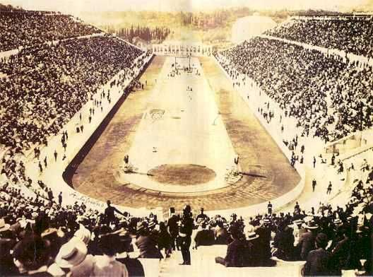 Athens, Kallimarmaron 1896.  Opening ceremony of 1st Olympic Games of modern times in Athens