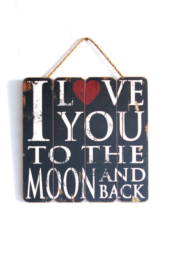 I Love You To The Moon and Back, Wooden Sign, Vintage Style, Home Decor, Black and White with Red Heart