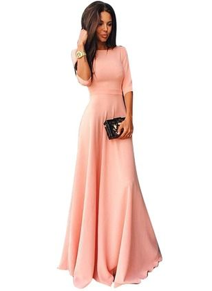 Cotton Blends Solid Half Sleeve Maxi Elegant Dresses (1016382) @ floryday.com