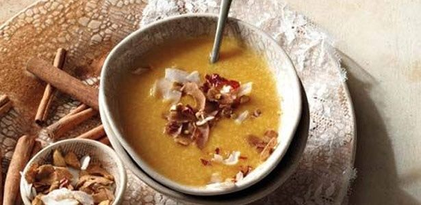 Butternut soup with cinnamon and coconut sprinkle