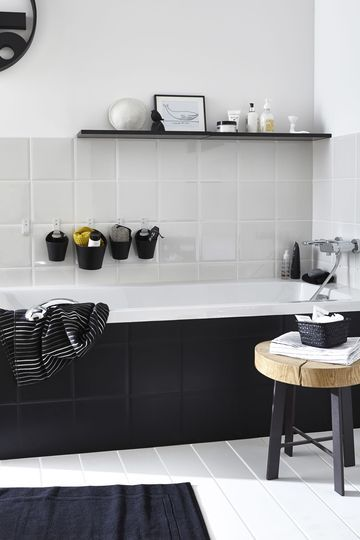 199 best #Salle de bain#Bathroom images on Pinterest Bathroom - salle de bain moderne noir et blanc
