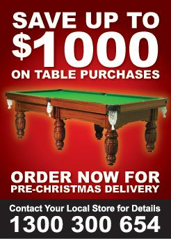 The countdown to that day when the cheery bearded bloke in the red suit slides down the chimney is well and truly. Save up to $1,000 on Pool tables right across the entire Billiard Shop range.