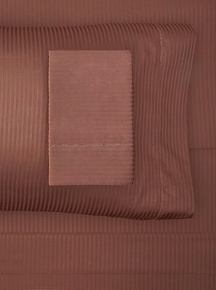 61% OFF Satin Stripe Sheet Set (Chocolate)