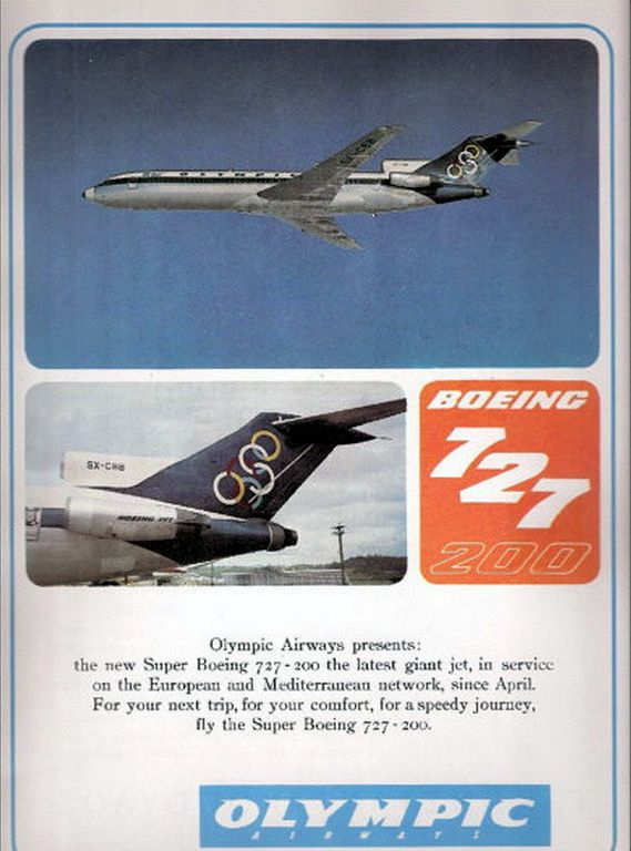 Olympic Airways Boeing B727-200 Advertisement Original, 1969
