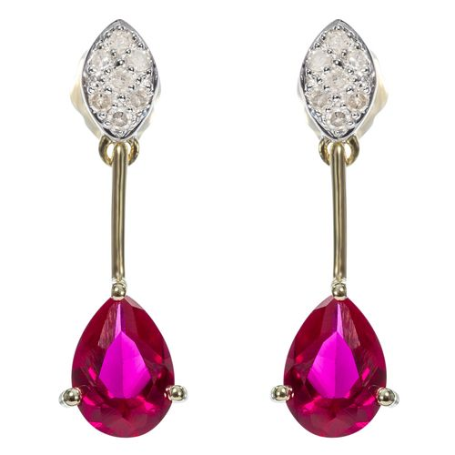 9ct Yellow Gold Diamond  Created Ruby Drop Earrings $167 - purejewels.com.au