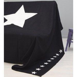 Jeté de canapé bleu marine design étoiles blanches - Coussin de chaise / Jeté de canapé - Textile déco - Linge de maison | GiFi