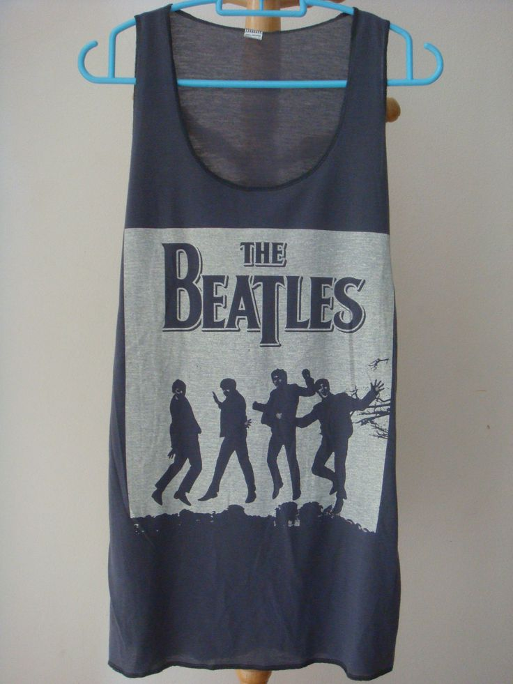 THE BEATLES ROCK BAND Vintage sexy GREY Tank Top Vest Singlet women T-Shirt  L