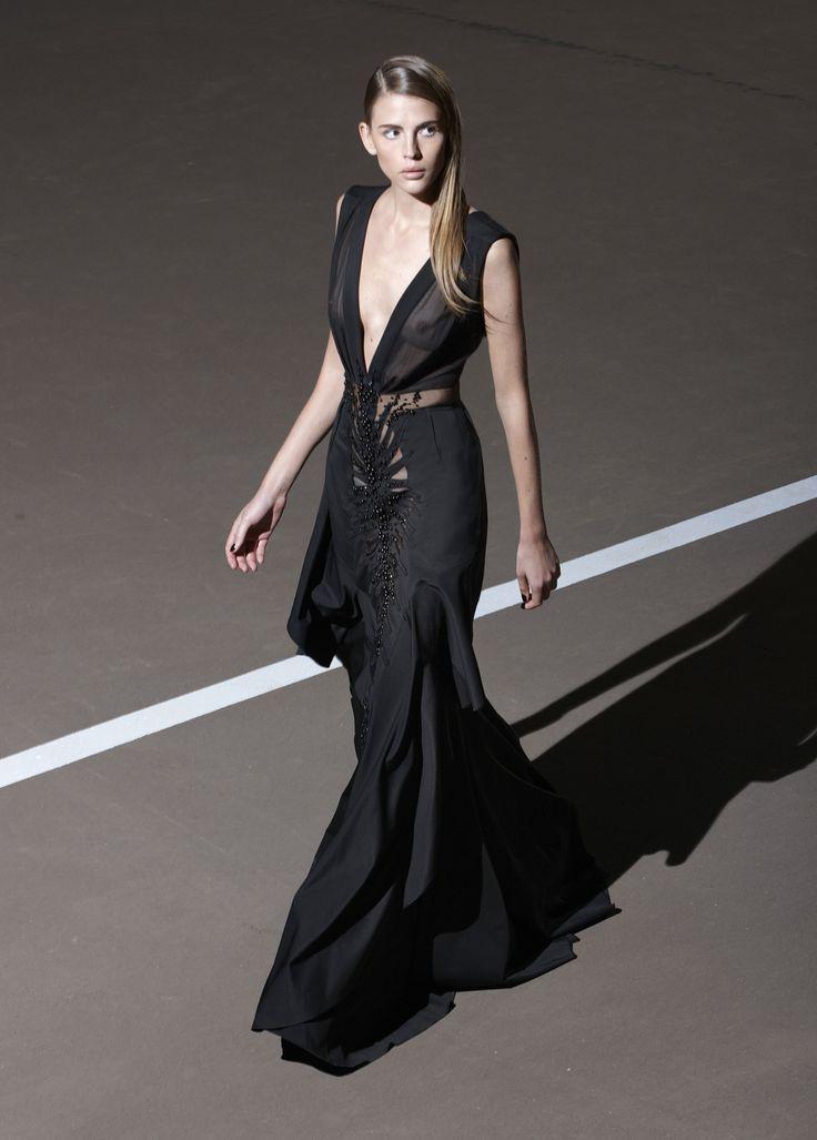 Floor length black evening gown