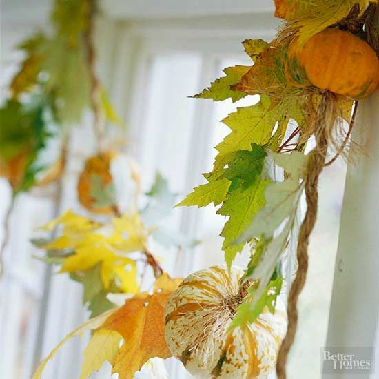 This easy and inexpensive fall garland doubles as a gorgeous seasonal window treatment. Simply gather colorful leaves from your yard and knot them, along with a few mini pumpkins, onto a piece of twine.
