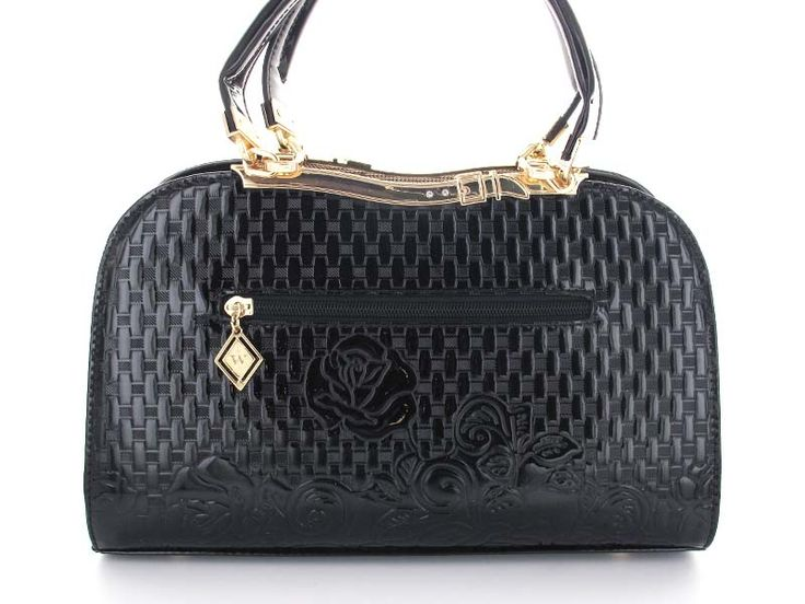 Black Woven and Floral Imprinted Patent Purse