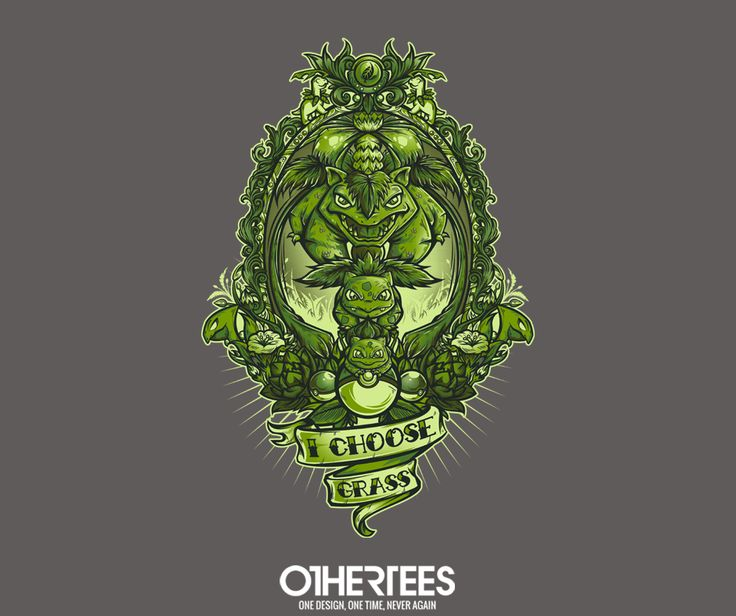 """I Choose Grass"" by jmlfreeman T-shirts, Tank Tops, V-necks, Sweatshirts and Hoodies are on sale until March 17th at www.OtherTees.com #pokemon #grasstypepokemon #bulbasaur #nintendo #othertees"