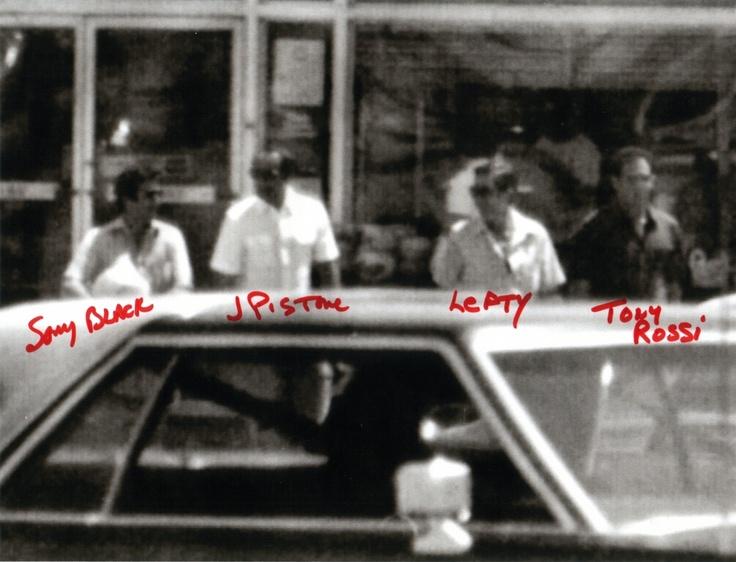 Dominick 'Sonny Black' Napolitano, Joe Pistone alias Donnie Brasco, Benjamin 'Lefty' Ruggiero, and Tony Rossi.