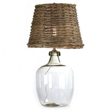 Panier French Cottage Large Glass Rustic Basket Shade Table Lamp - Kathy Kuo Home
