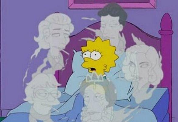 Lisa Simpson recibe en soños a  visita das súas heroínas feministas: Simone de Beauvoir, Margaret Mead e Lillian Hellman entre outras.. (Referencias literarias en Los Simpsons)