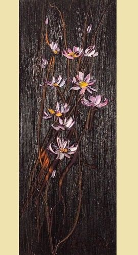 Camomile in black oil painting on canvas - Margaret Raven Art