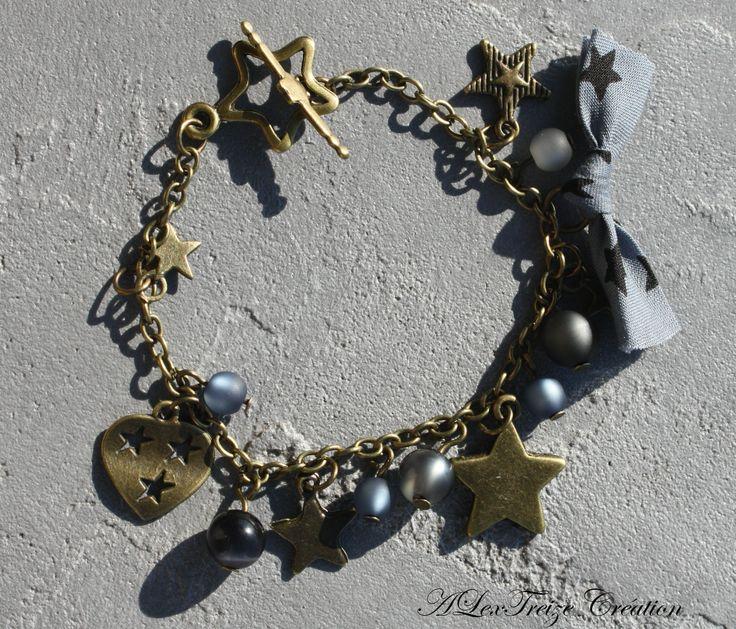 Bracelet bronze étoiles noeud liberty et perles polaris dans les tons gris, hématite