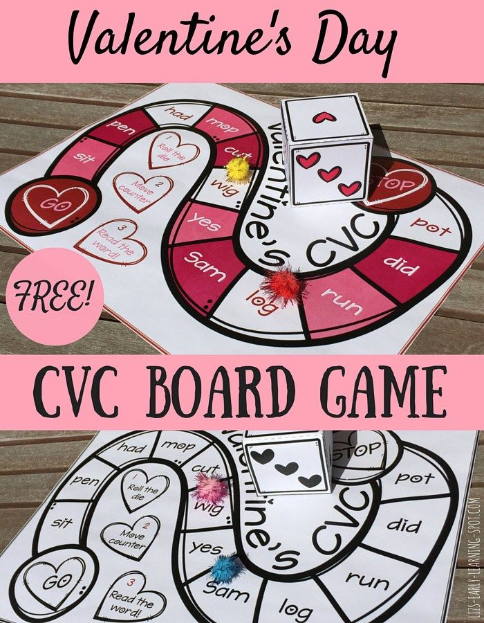 Here's a sweet and free CVC board game for you to enjoy around the Valentine's Day period!