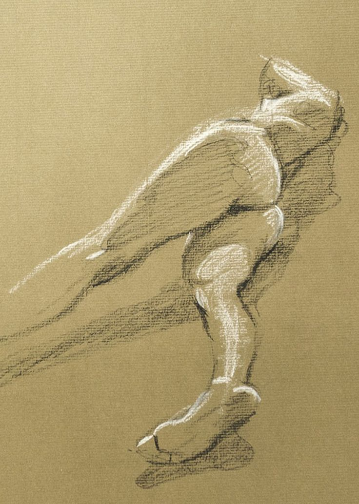 Contemporary artist Rob Adams, figure sketch of nude woman anatomy laying on side with foreshortening.