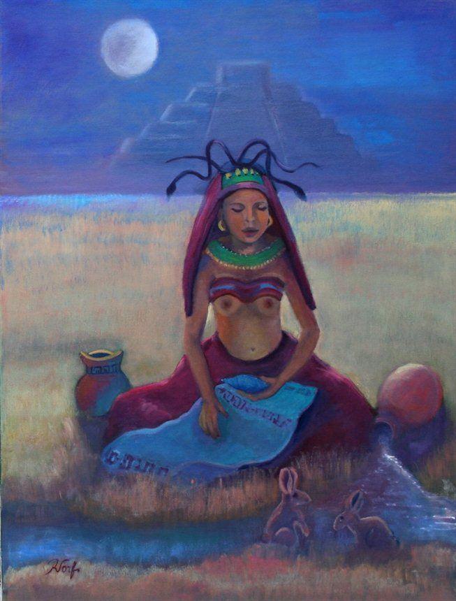 Ixchel , Mayan Goddess of the Moon- Oil on Canvas....Sold. by Rita Torfs