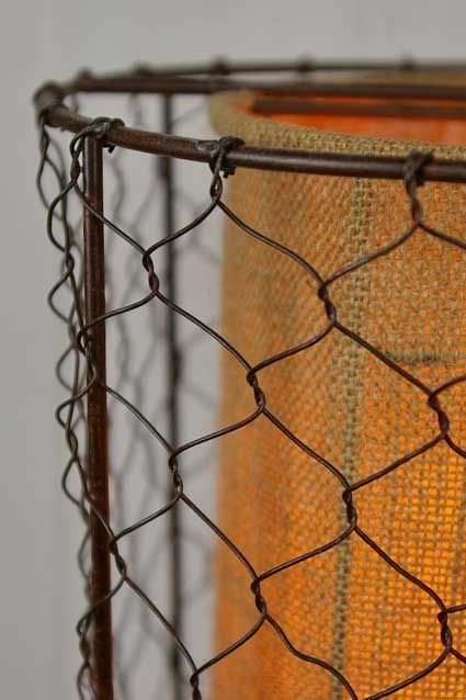 Pendant Light Lamp Rustic Chicken Wire Shade With Burlap