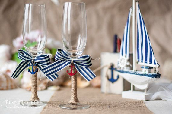 Nautical Wedding  glasses with anchor, bow, rope - beach wedding nautical  - Personalized on Etsy, $40.00