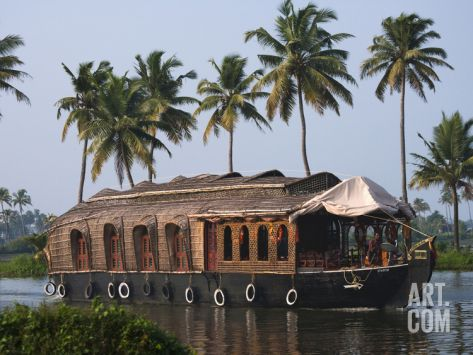 Houseboat on the Backwaters of Kerala, India Photographic Print