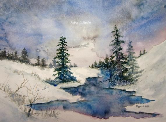 Aquarelle Abby Paysage Neige Hiver Arbres Barriere Froid Paysage