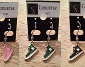 Converse shoes earrings/necklace 3 choices of color, with surgical steel hook