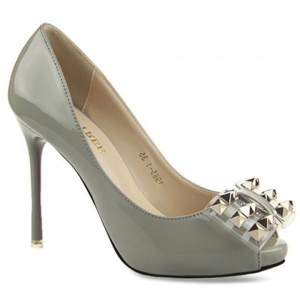 Elegant Rivets and Bow Design Peep Toe Shoes For Women #CLICK! #clothing, #shoes, #jewelry, #women, #men, #hats, #watches