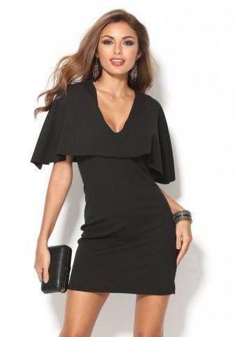 Černé společenské šaty s hlubokým výstřihem #ModinoCZ #LBD