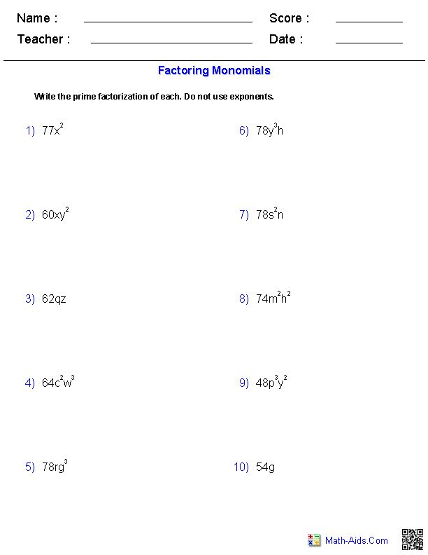 Printables Factoring Monomials Worksheet Gozoneguide Thousands – Factoring Review Worksheet Answers