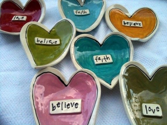 6 1/2 x 4 1/2 heart dishes Each is heart is unique and hand formed. Catch the emotions and create a memory. Raised inspirational words of your