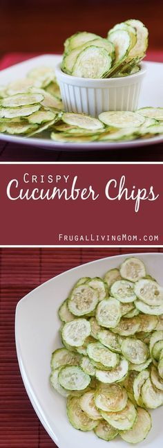 Crispy Cucumber Chips!!  http://www.frugallivingmom.com/crispy-cucumber-chips/ Yum, these crispy little chips would be great with ranch dressing (or just plain!)