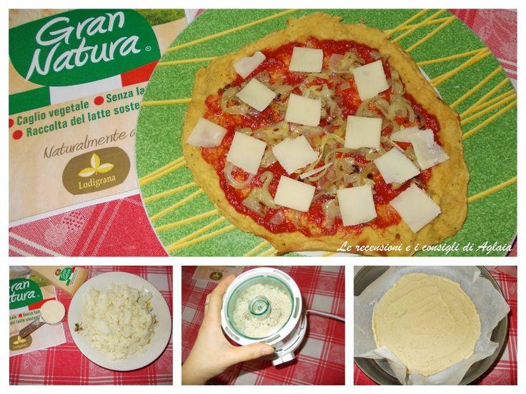 Pizza del cavolo Ingredienti: 30 gr farina integrale di ceci biologici 300 gr broccoli bianchi lessati Sale Pepe nero Formaggio Gran Natura Cipolle Grigliate Polpa di pomodoro