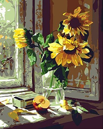 [ New Release ] Diy Oil Painting by Numbers, Paint by Number Kits - Window Sunflower 16*20 inches - Digital Oil Painting Canvas Wall Art Artwork Landscape Paintings for Home Living Room Office Christmas Decor Decorations Gifts - Diy Paint by Numbers Diy Canvas Kit for Adults Advanced Children Seniors Junior - New Arrival - No. D267