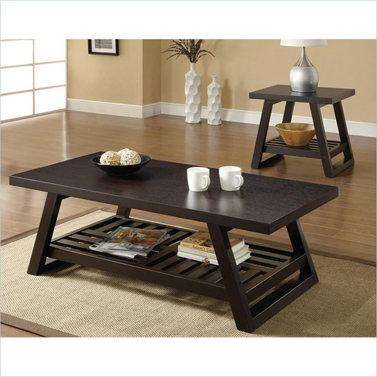 Coaster 2 Piece Coffee And End Table Set In Brown
