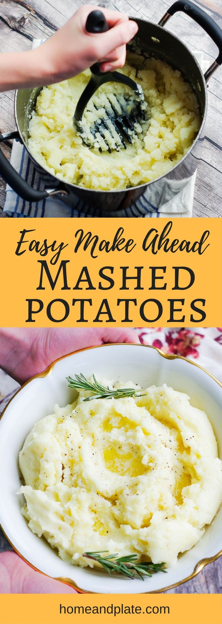Easy Make-Ahead Mashed Potatoes | www.homeandplate.com | Easy to make ahead of time, these simple mashed potatoes will be the most popular dish on your dinner table. #mashedpotatoes #thanksgiving