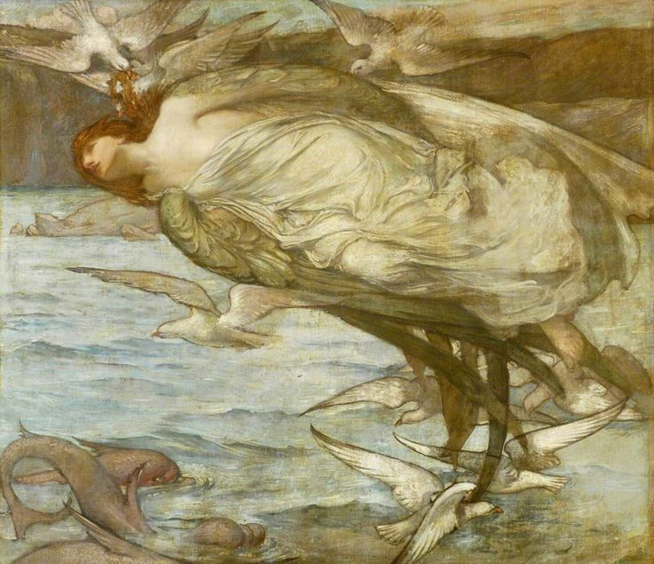Orpheus : Single Bacchante with Seabirds.(1899-1909). Oil on panel. 189 x 219 cm (74.41 x 86.22 in.) Art by Robert Douglas Strachan.(1875-1950).