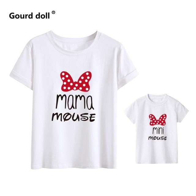 Brand Name: Gourd dollItem Type: T-ShirtsStyle: CasualSleeve Length(cm): ShortFit: Fits true to size, take your normal sizeMaterial: COTTONPattern Type: PrintDepartment Name: Mother & Daughter baby girl clothes MINI and MAMA Fashion Cotton Family Look Boys Mom Mother Clothes