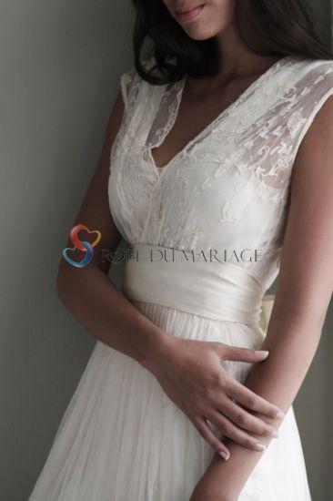 Robe de mariée pas cher | Robe de soirée pas cher - Robe ornée de ceinture et de plis en satin, tulle et dentelle