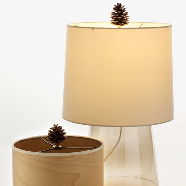 Pinecone Lamp Finial, we love the idea of spray painting the pinecones too!Decor Ideas, Cones Finials, Pinecone Finials, Lamps Finials, Pine Cones, Hot Glue, Martha Stewart, Decorating, Pinecone Lamps
