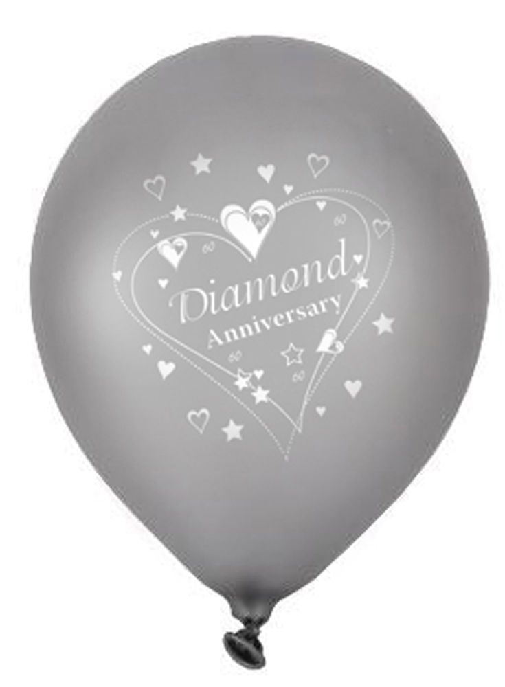 5 x Diamond Wedding Anniversary 60th Wedding Anniversary Balloons FREE P&P