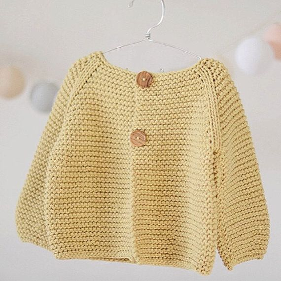 Baby Sweater KNITTING PATTERN Jumper Basic Baby Cardigan Toddler Sweater 3-6-12-24 months to child sizes PDF file Knit Babysuit