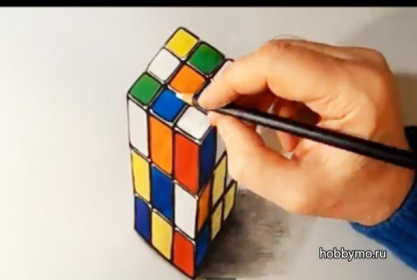 Как нарисовать 3д кубик рубик. Видеоурок. Сайт Море Хобби