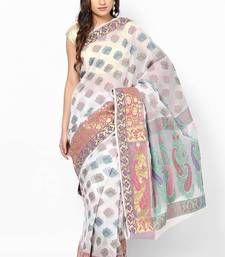 Buy Organza cotton silk stripe banarasi contrast saree organza-saree online