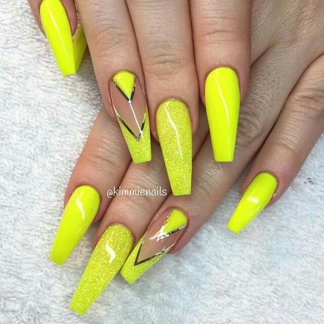 Yellow Acrylic Nail Art: Bright Yellow Coffin Nails